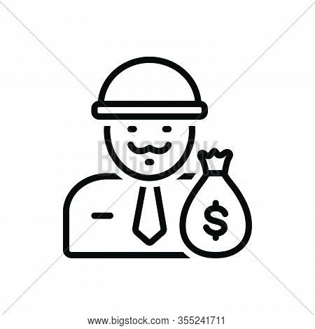 Black Line Icon For Wealthy Rich Affluent Moneyed Thriving Opulent Propertied Well-off Well-heeled