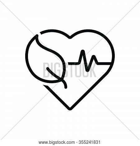 Black Line Icon For Health Well-being Ehealth Healthcare Heartbeat Heart