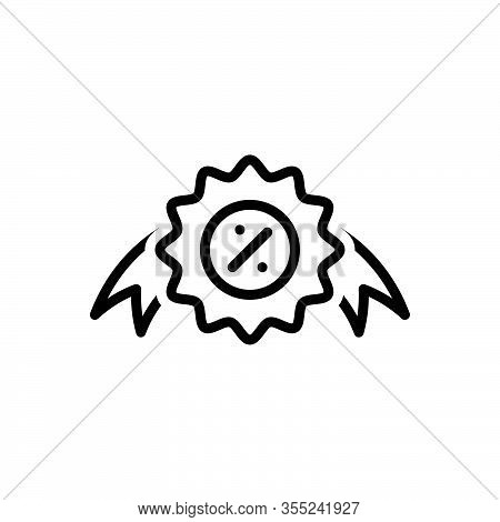 Black Line Icon For Offer Proposal Offering  Sign Bargain Coupon Discount Circle Label Market Price