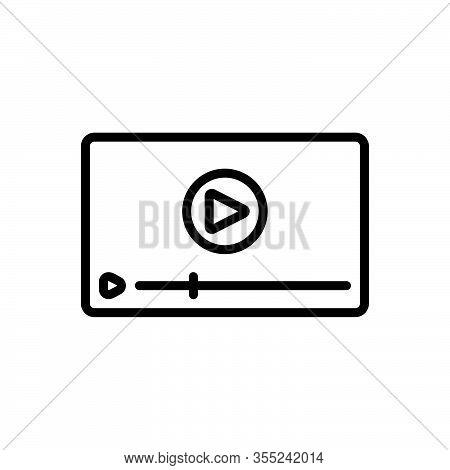 Black Line Icon For Video Technology Play Ad-viedo Ad Viedo Marketing  Advertisement Videoblog Onlin