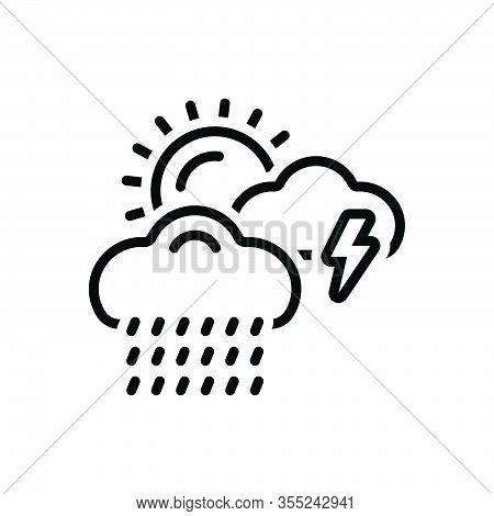 Black Line Icon For Weather Storm Thunder Burr Rumble Rain Rainfall Raindrops Wet-weather  Drizzle C