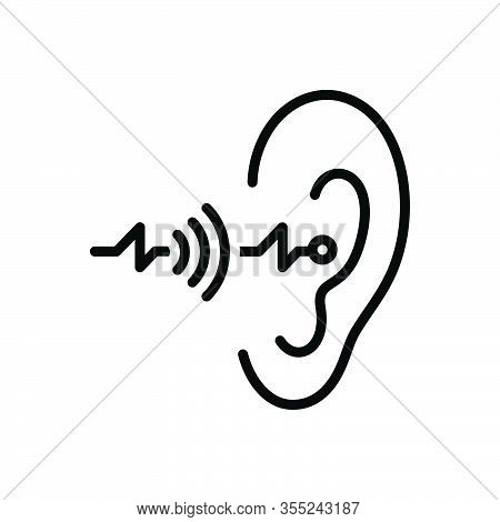 Black Line Icon For Hearing Sense Ear Listen Hear Noise Auditory Hearken Sound Volume Acoustic Audib
