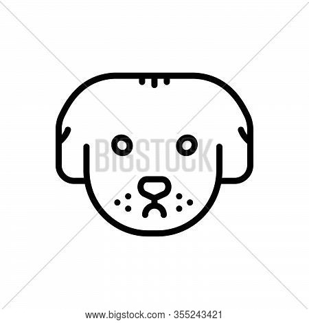 Black Line Icon For Dog Pooch Retriever Puppy Pet Tame Domestic Home-animal Faithful Animal