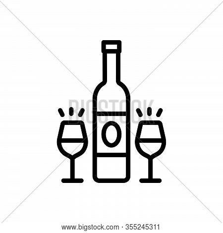 Black Line Icon For Wine Drink Liqueur Rum Libation Bar Bottle Alcohol Glass  Party