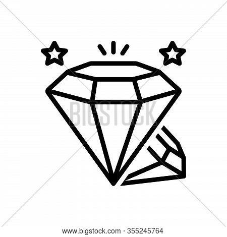 Black Line Icon For Diamond Gemstone Sparkler Shiner Pawnshop Jewellery Ornament Accuracy Shining Lu