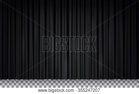 Black Velvet Curtain In Theater Or Cinema. Vector Realistic Closed Stage Curtains Lighted By Spotlig