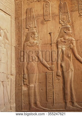 Ancient Egyptian Hieroglyphs In The Temple Of Kom Ombo, Egypt