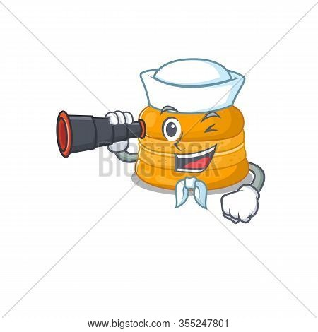 Orange Macaron In Sailor Cartoon Character Design With Binocular