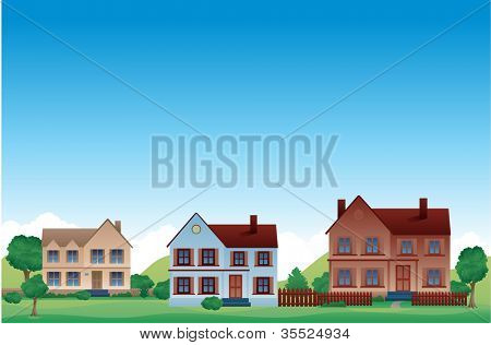 Neighborhood Suburban vector background