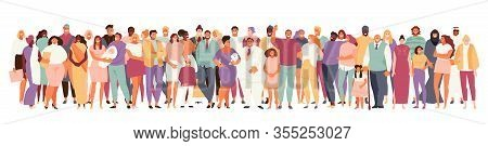 Multinational And Multicultural Crowd Of People . People Of Different Ages And Appearance Large Set