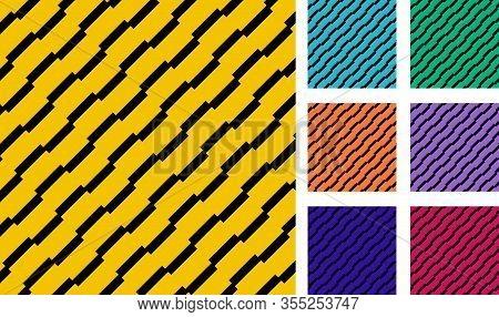 Set Of Geometric Rectangle Stripes Diagonal Black Color Pattern Background. Vector Illustration