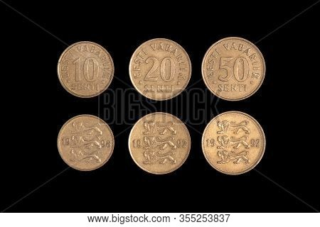 Set Of Old Estonian Coin Isolated On Black, 10 20 50 Senti. Coinage, Close-up.