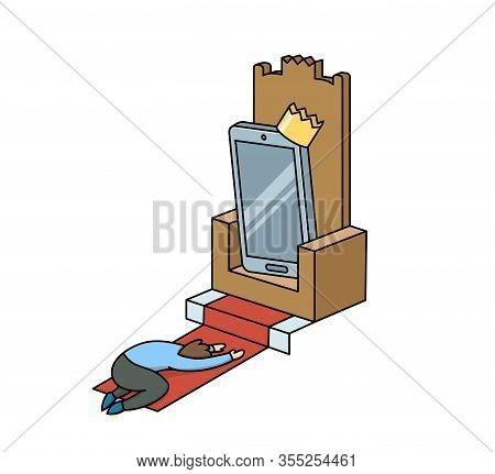 Cartoon Illustration Of A Man Worshiping A Gadget On A Throne. Gadget Addiction, Social Media Depend