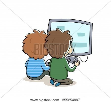 Little Boys Sitting In Front Of Tv Playing Games. Kids Dependence On A Smartphone, Gadget Or The Int