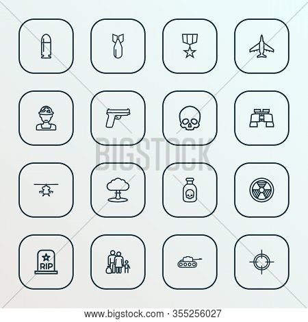 Battle Icons Line Style Set With Bullet, Gun, Poison And Other Panzer Elements. Isolated Illustratio
