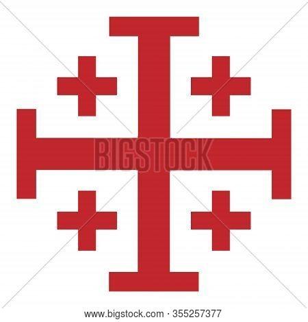 Vector Illustration Red Jerusalem Cross. Cross Of Knightly Order Of The Holy Sepulchre Of Jerusalem