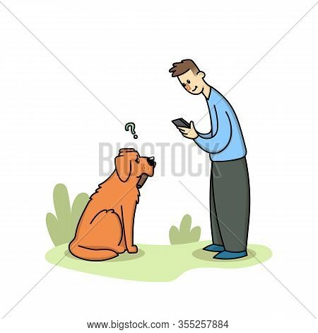 Boy Stares Into A Gadget On A Walk With A Dog. Dog Puzzled By The Owner With A Phone. Gadget Addicti