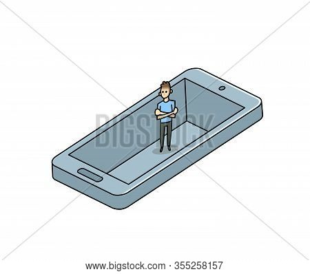 Man Trapped In His Smartphone Like In A Pit. Gadget Addiction, Social Media Dependency Concept. Flat