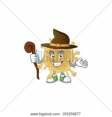 Sweet And Tricky Witch Coronavirus Particle Cartoon Character