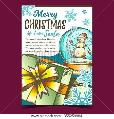 Merry Christmas Gift Box Advertise Banner Vector. Opened Gift Box Decorated Ribbon Bow And Souvenir