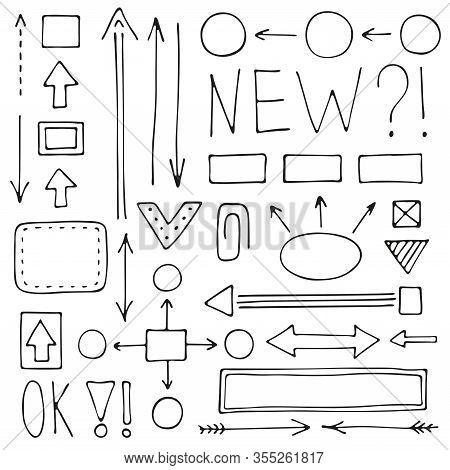A Set Of Hand-drawn Arrows And Schemes For Mind Maps. Doodle Vector Collection Of Pointers And Desig