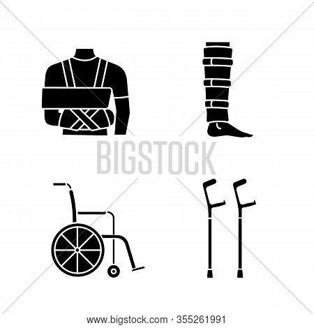 Trauma Treatment Glyph Icons Set. Shoulder Immobilizer, Shin Brace, Wheelchair, Elbow Crutches. Silh