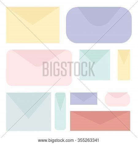 Set Of Colored Envelopes. Paper Blank Letter Envelopes For Vertical And Gorizontal Document. Vector