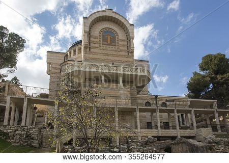 A View Of Church Of St. Peter In Gallicantu On Zion Mount In Jerusalem Old City Area, Israel