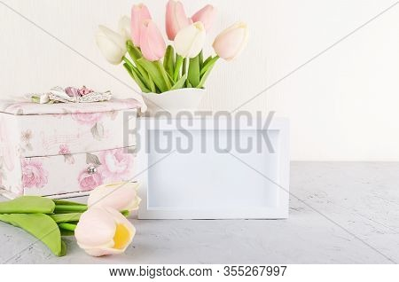 Fresh Tulips Bouquet With Empty White Frame