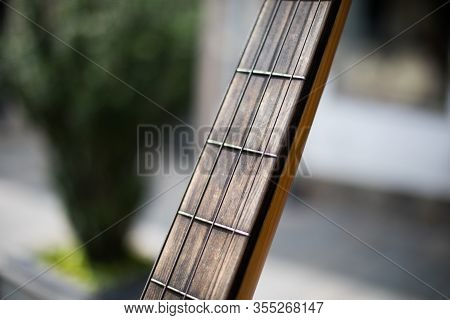 Close Up Shot Of An Acoustic Guitar Fretboard.