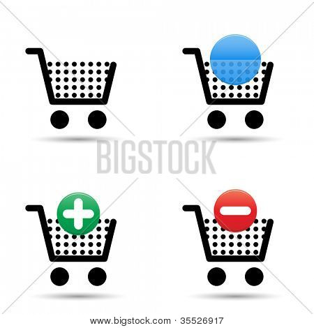 Shopping cart trolley icons set. Includes