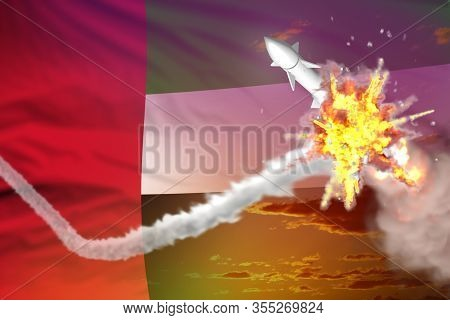 United Arab Emirates Intercepted Ballistic Missile, Modern Antirocket Destroys Enemy Missile Concept