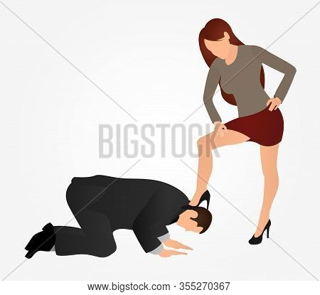 Female Boss Leg Presses On A Man. Businessman Kneel Down. The Concept Of Manipulation And Control Ov