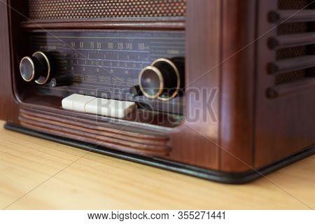 Vintage Radio Made Of Wood On A Table