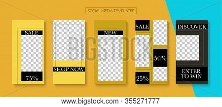 Social Stories Cool Vector Layout. Minimal Sale, New Arrivals Story Layout. Blogger Modern Frame, So