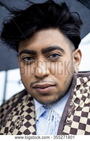 London, Uk- Febryary 15 2020: Fashionable People On The Street . Street Style