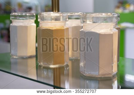 Samples Of Food Additives And Flavorings In The Window. Food Processing Industry