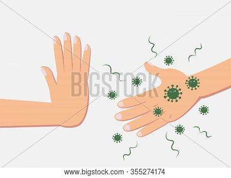 Man Refusing Hand Shake With Virus Infected People To Protect Himself From Coronavirus.green Virus C