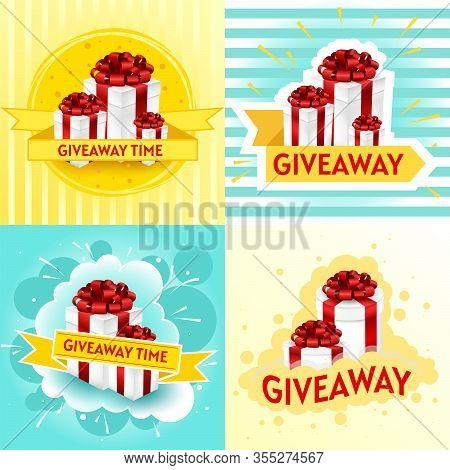 Giveaway Template Set. Gift Offer Banner, Giveaways Post And Winner Reward In Contest, Prize In Boxe