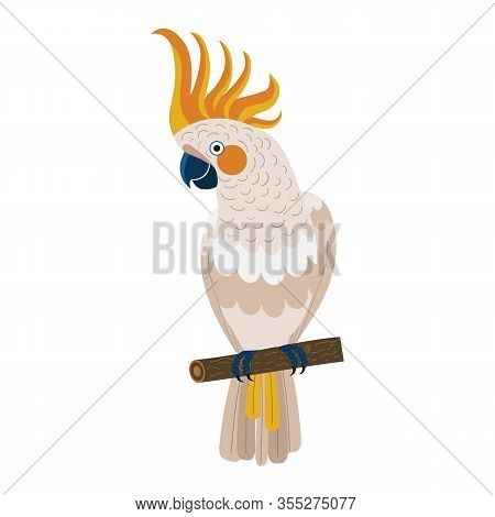 Citron Crested Cockatoo Parrot In Flat Design