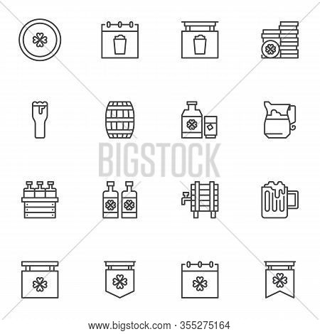 Saint Patrick Day Party Line Icons Set. Linear Style Symbols Collection, Outline Signs Pack. Vector
