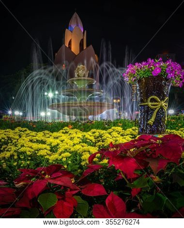 Cong Vien Sua Park Nha Trang At Night, Beautiful Flowers Fountain And Incense Tower  Vietnam