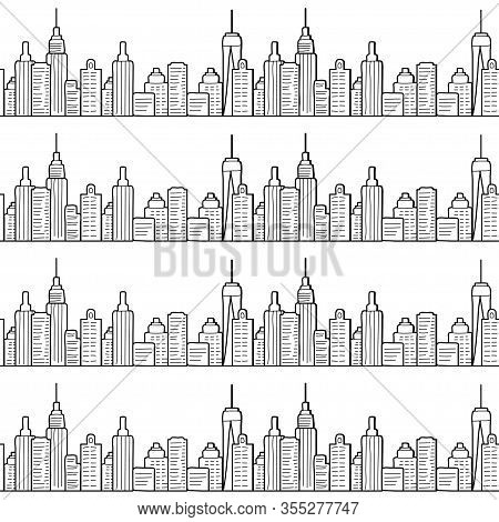City Seamless Pattern With Line Drawing Of High Buildings Or Skyscrapers. Manhattan. New York. Black