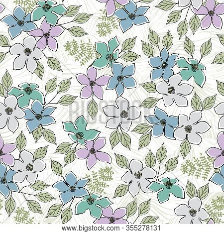 Vector Flowers In Blue Gray Pink Aqua Scattered With Green Leaves On White Background Seamless Repea