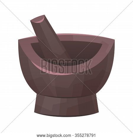 Mortar And Pestle Tool For Cooking Food Isolated Vector