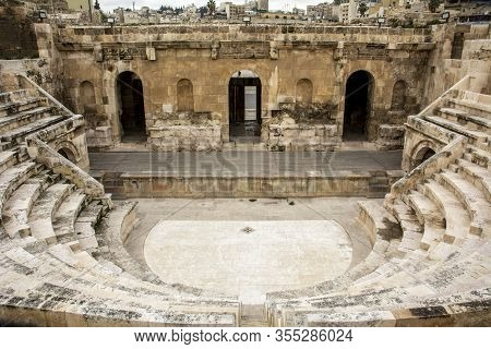 High Angle View On The Odeon Theatre In Amman, Jordan