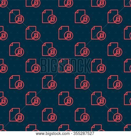 Red Line Music Book With Note Icon Isolated Seamless Pattern On Black Background. Music Sheet With N