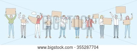 Banner, Actitivist, Meeting Manifestation, Protest Set Concept. Collection Of Young People Men, Wome