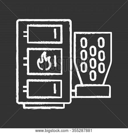 Pellet Boiler Chalk Icon. Central Heating System. Solid Fuel Boiler. Pellet Burner System. Workshops