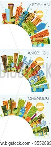 Foshan, Chengdu and Hangzhou China City Skylines with Color Buildings, Blue Sky and Copy Space. Business Travel and Tourism Concept with Modern Architecture. Cityscapes with Landmarks.
